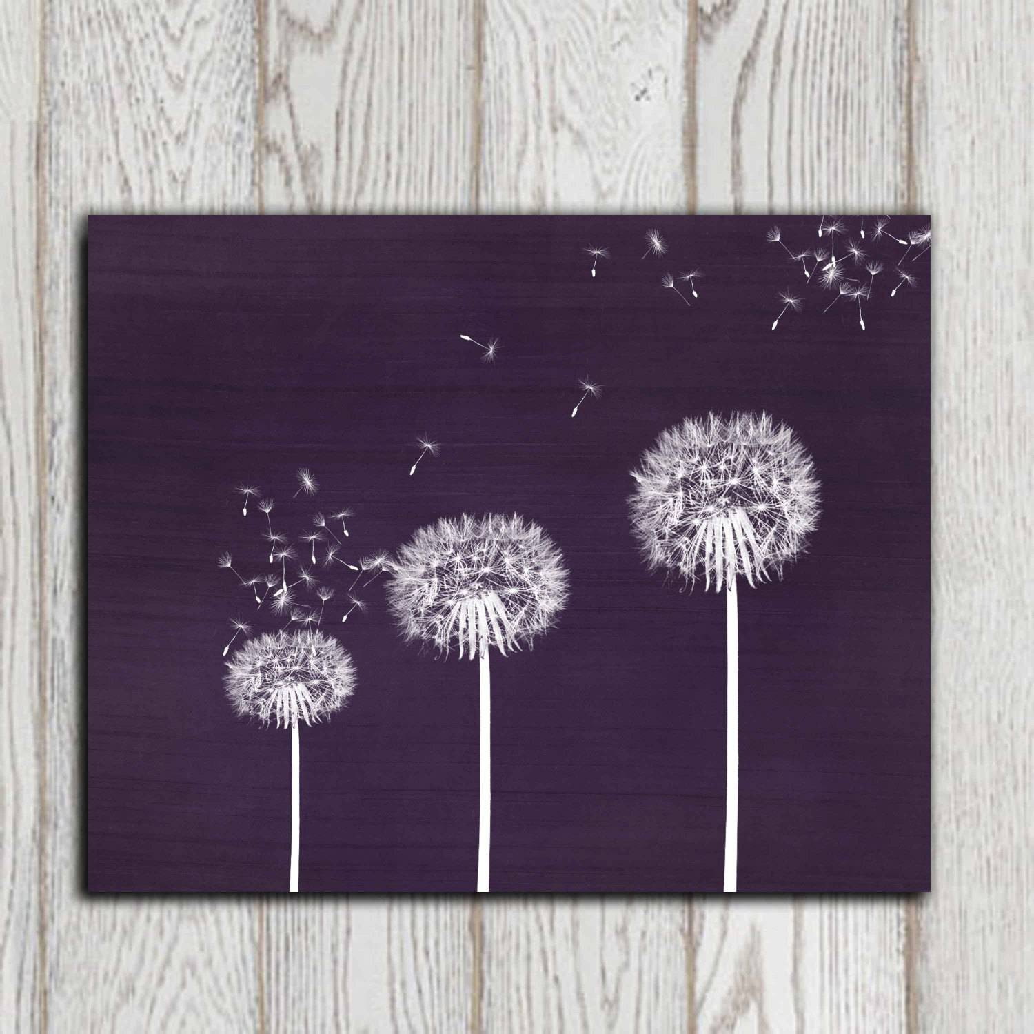 Gift Idea Dandelion Printable Purple Dandelion Print Wall Art Pertaining To Newest Purple Wall Art Canvas (Gallery 8 of 20)