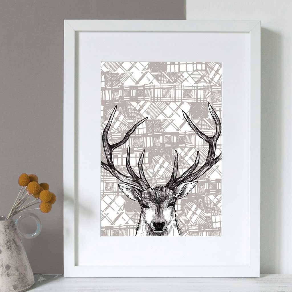 Gillian Kyle Scottish Wall Art Tartan Stag Canvas Print With Regard To 2018 Stag Wall Art (View 6 of 20)