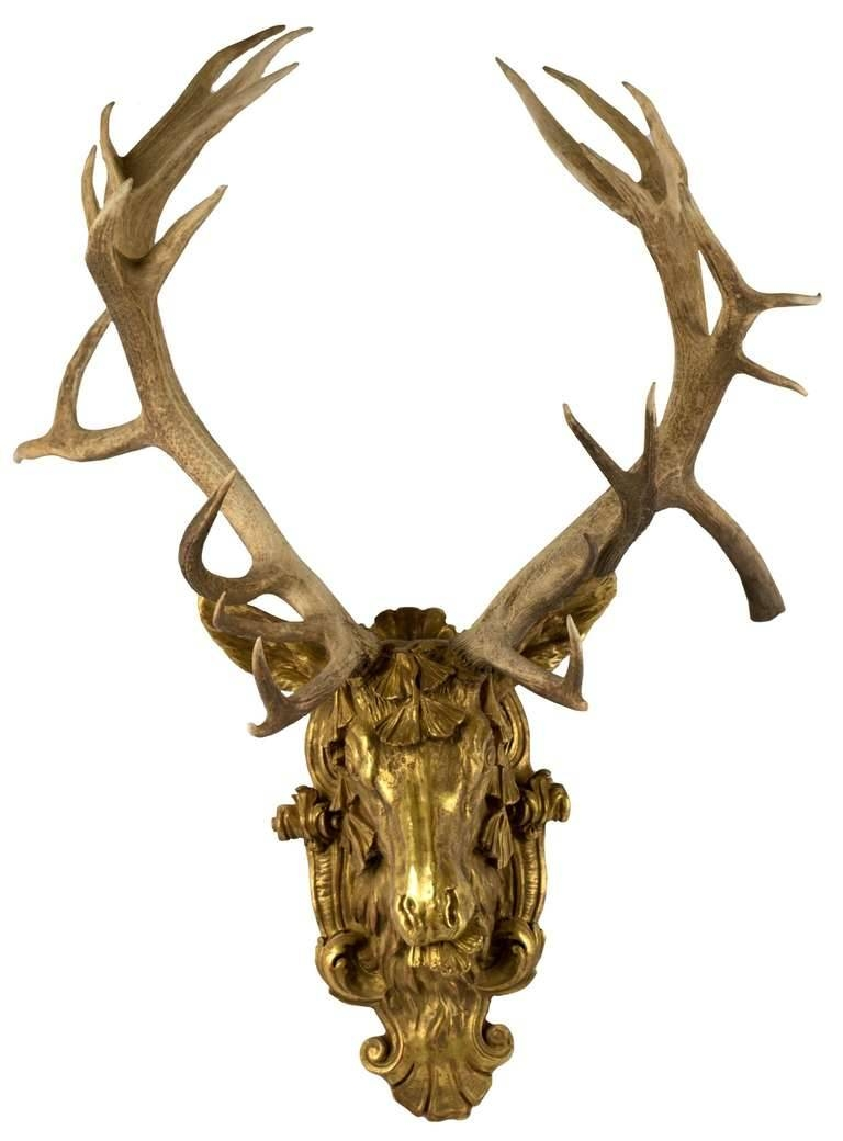 Gilt Red Deer Stag Head At 1stdibs Within Best And Newest Stag Head Wall Art (View 12 of 20)