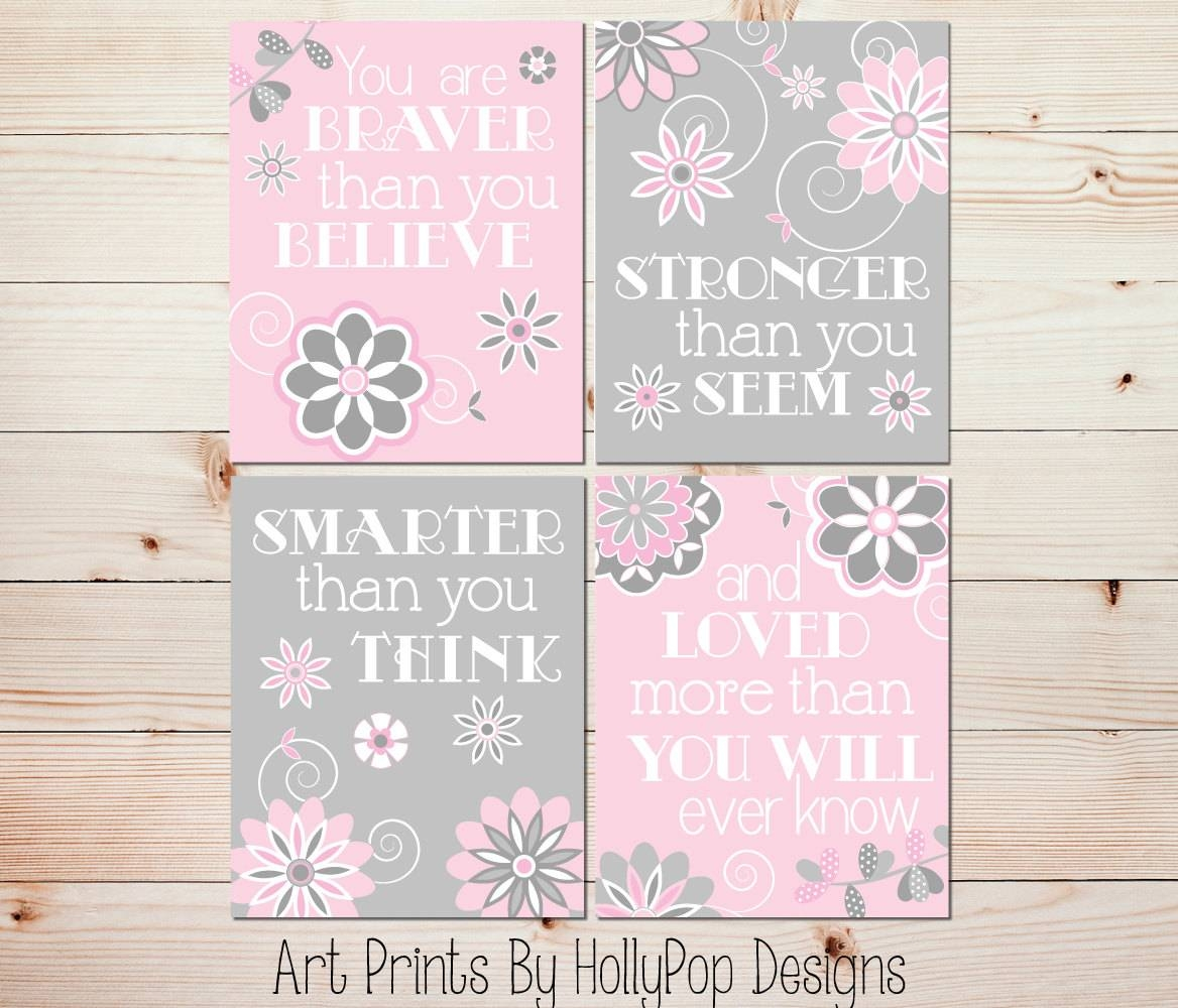 Girl Wall Art Pink Gray Baby Room Art Baby Girl Decor You Are Within Newest Wall Art For Girls (Gallery 1 of 20)