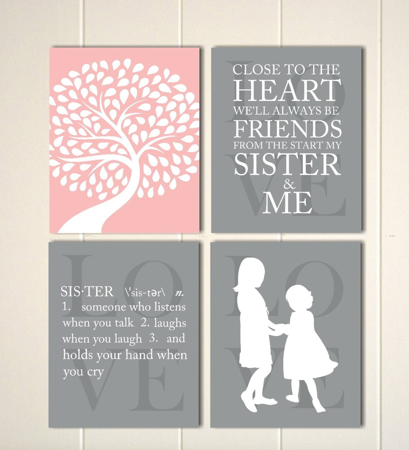 Girls Bedroom Wall Art Sisters Sisters Wall Art Siblings Throughout Current Wall Art For Girls (View 11 of 20)