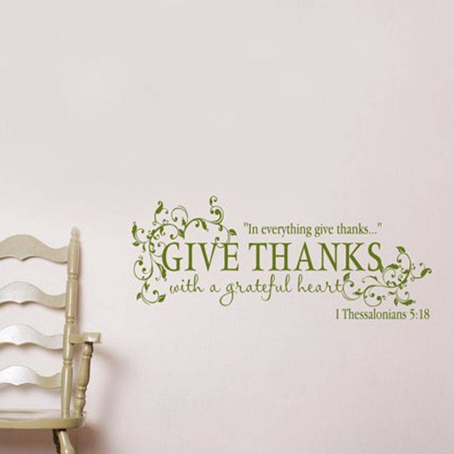 "Give Thanks With A Grateful Heart ""thanksgiving Vinyl Wall Art Within 2018 Bible Verses Wall Art (View 18 of 30)"