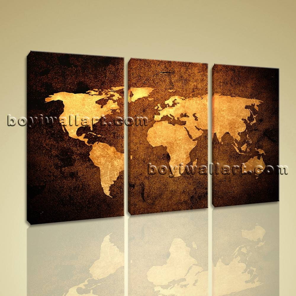 Global Map Ocean Retro Atlas Print Canvas Large Contemporary Wall With 2017 Atlas Wall Art (View 11 of 20)