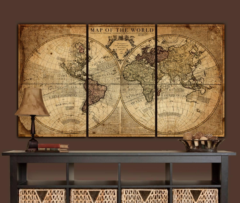 Modern world map canvas copy antique world map on canvas best of 2018 best of antique map wall art gumiabroncs Gallery