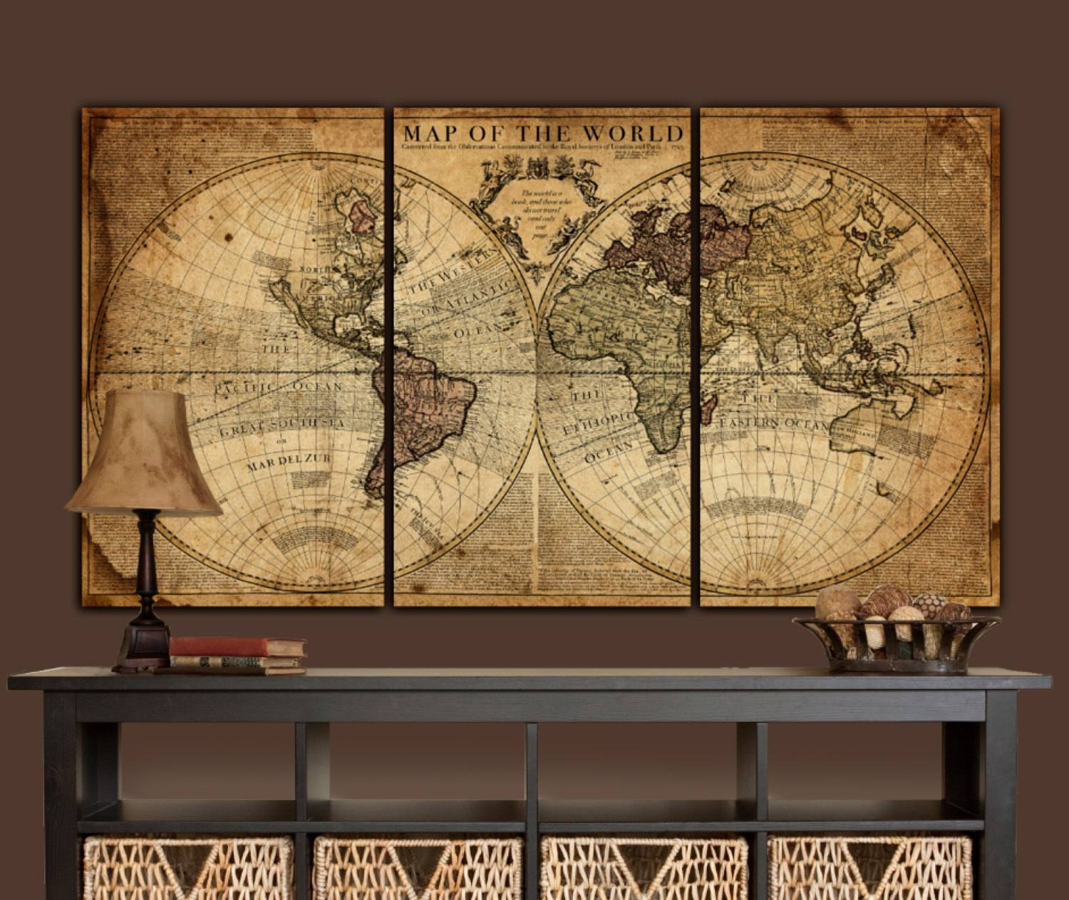 Globe Tan Map World Map Canvas Vintage Map Set Large Wall Regarding Most Popular Atlas Wall Art (View 5 of 20)