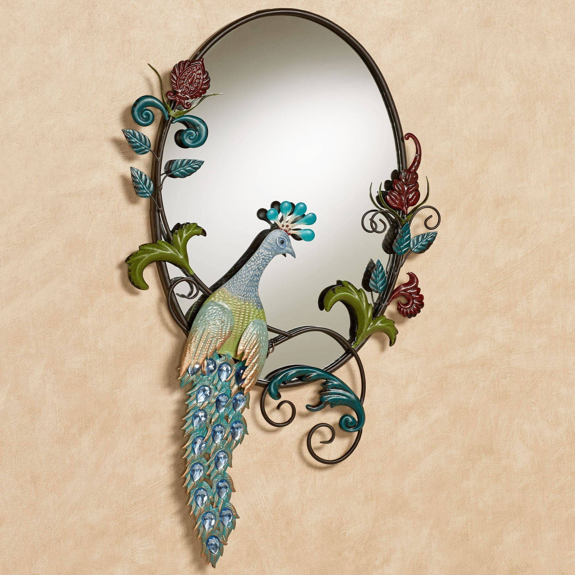Glorious Jeweled Peacock Wall Mirror Regarding 2017 Jeweled Peacock Wall Art (View 5 of 20)
