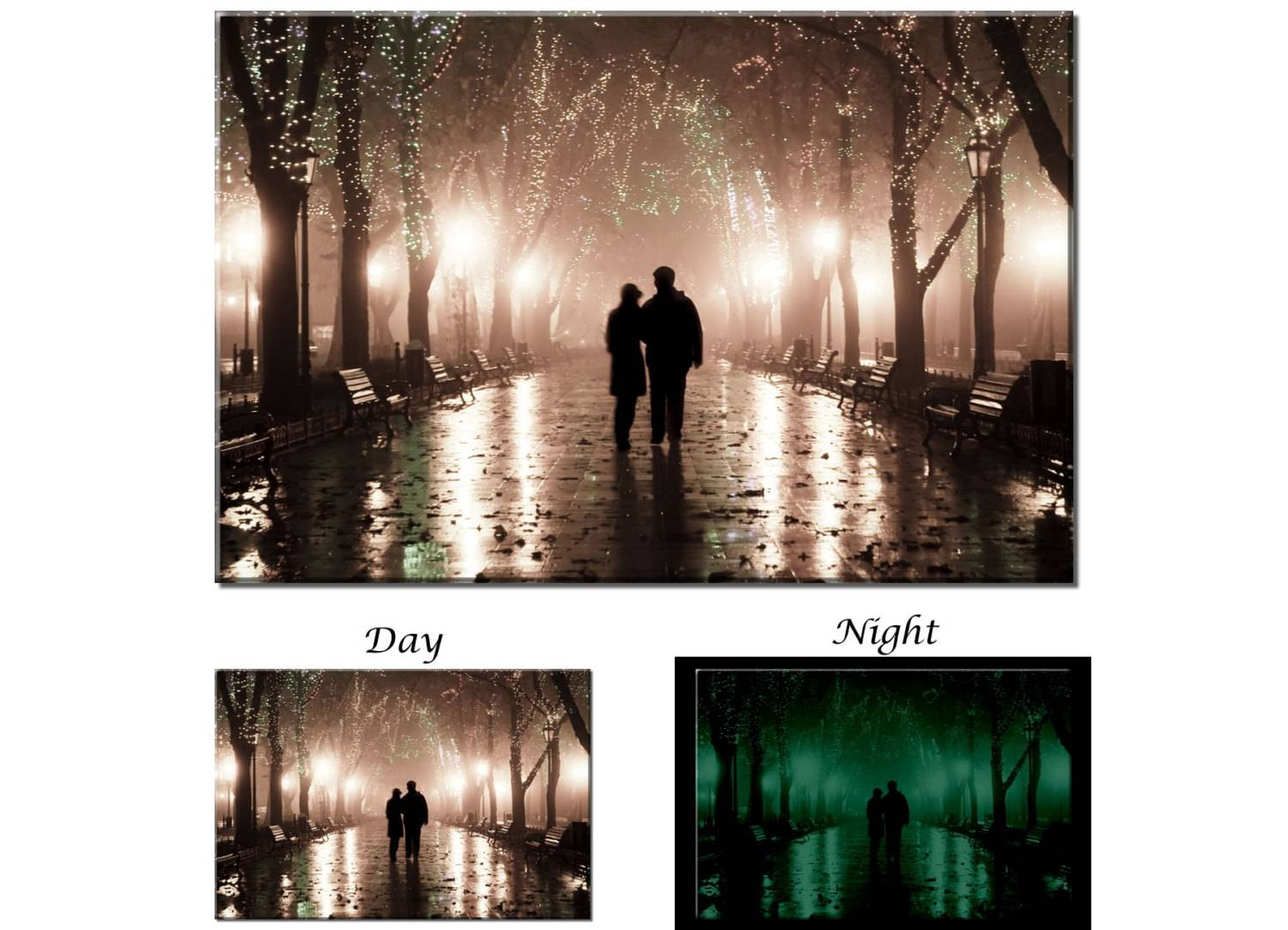Glow In The Dark Canvas Wall Art Romantic Couple Night Inside Recent Street Scene Wall Art (Gallery 20 of 25)