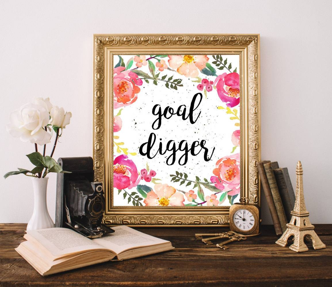 Goal Digger Print Cubicle Decor Chic Office Decor Floral Wall In Most Current Cubicle Wall Art (View 11 of 12)