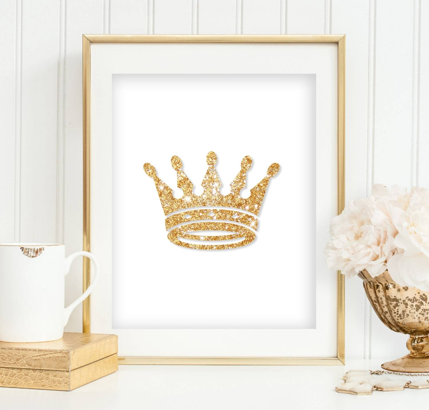 Gold Glitter Crown Print Girl's Bedroom Wall Art Princess Intended For 2018 Princess Crown Wall Art (View 14 of 25)