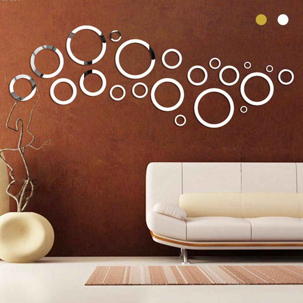 Gold Silver Round Circles Wall Mirror Acrylic Mirror Decorative For 2018 Circles 3D Wall Art (View 13 of 20)