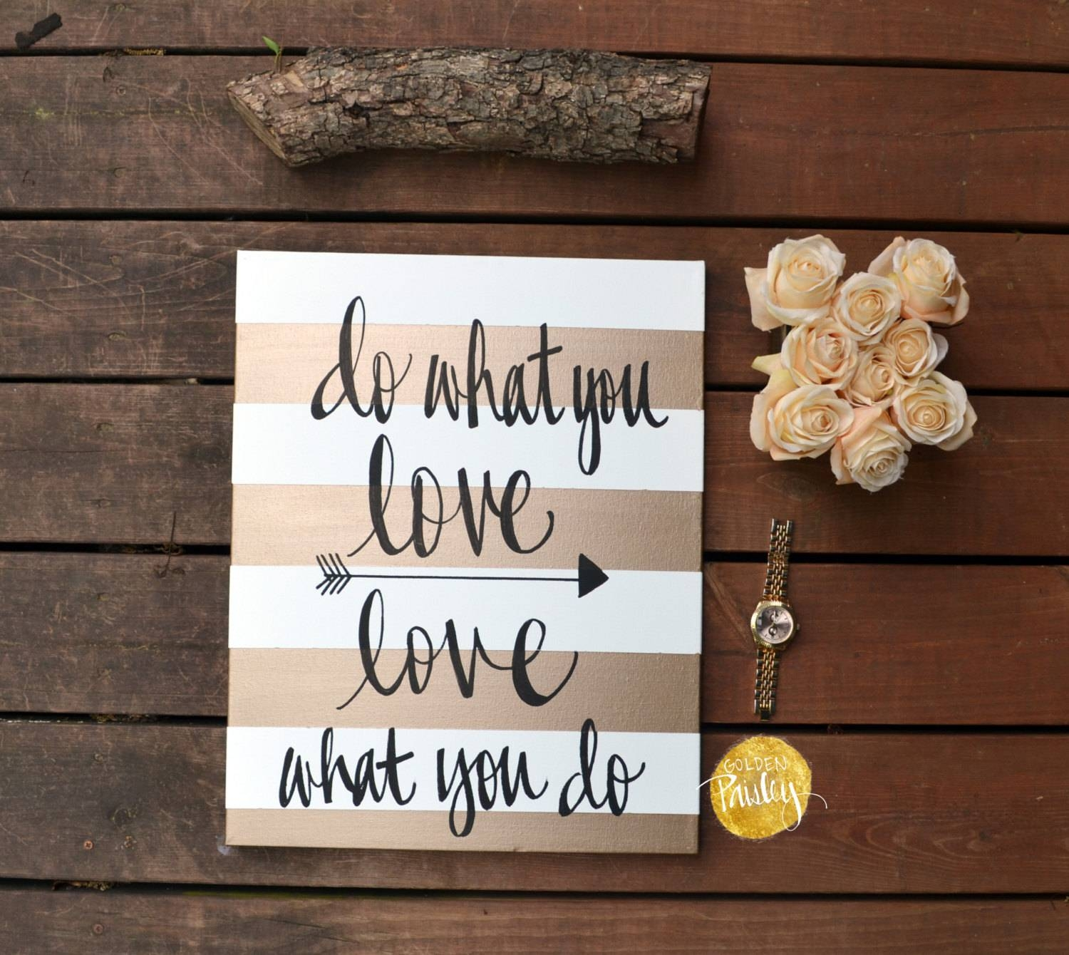 Gold Striped Canvas Wall Art Painting Custom Quote Art Love Inside Most Current Inspirational Canvas Wall Art (Gallery 12 of 20)
