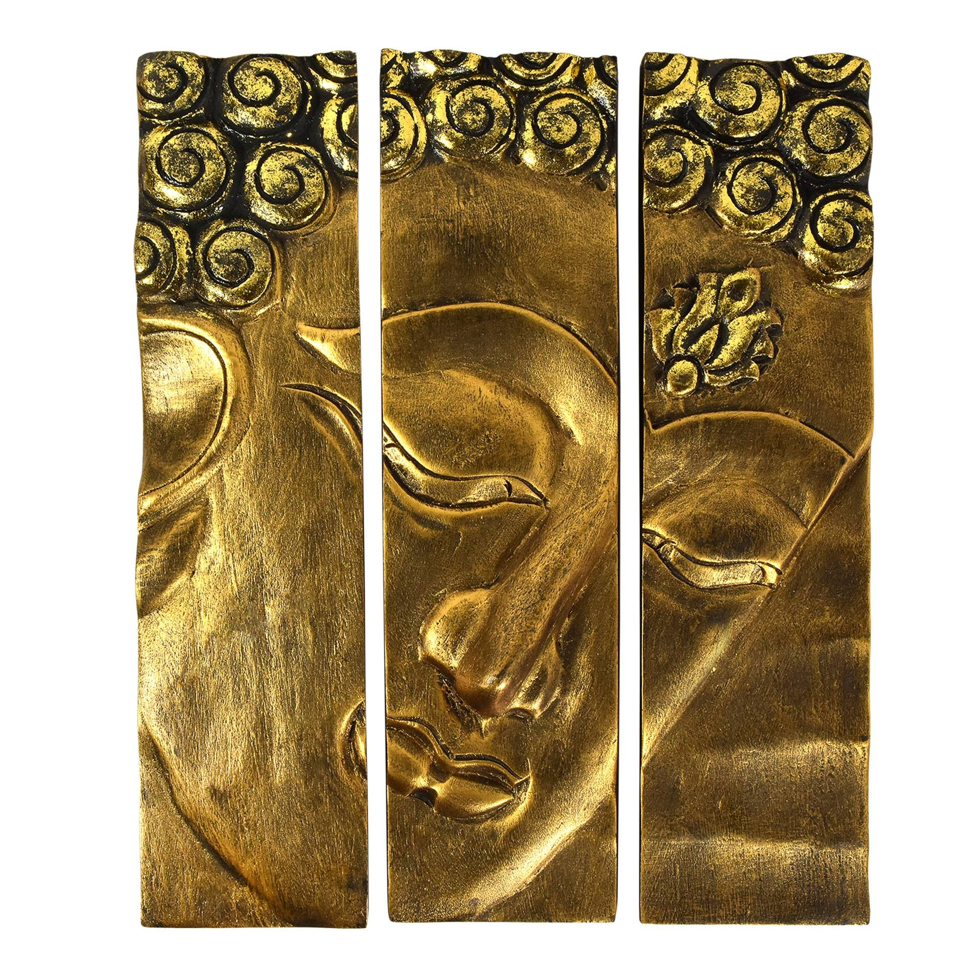 Golden Buddha Face Three Panel Hanging Handmade Wall Art 12X15 Inside 2017 Buddha Wood Wall Art (Gallery 7 of 20)