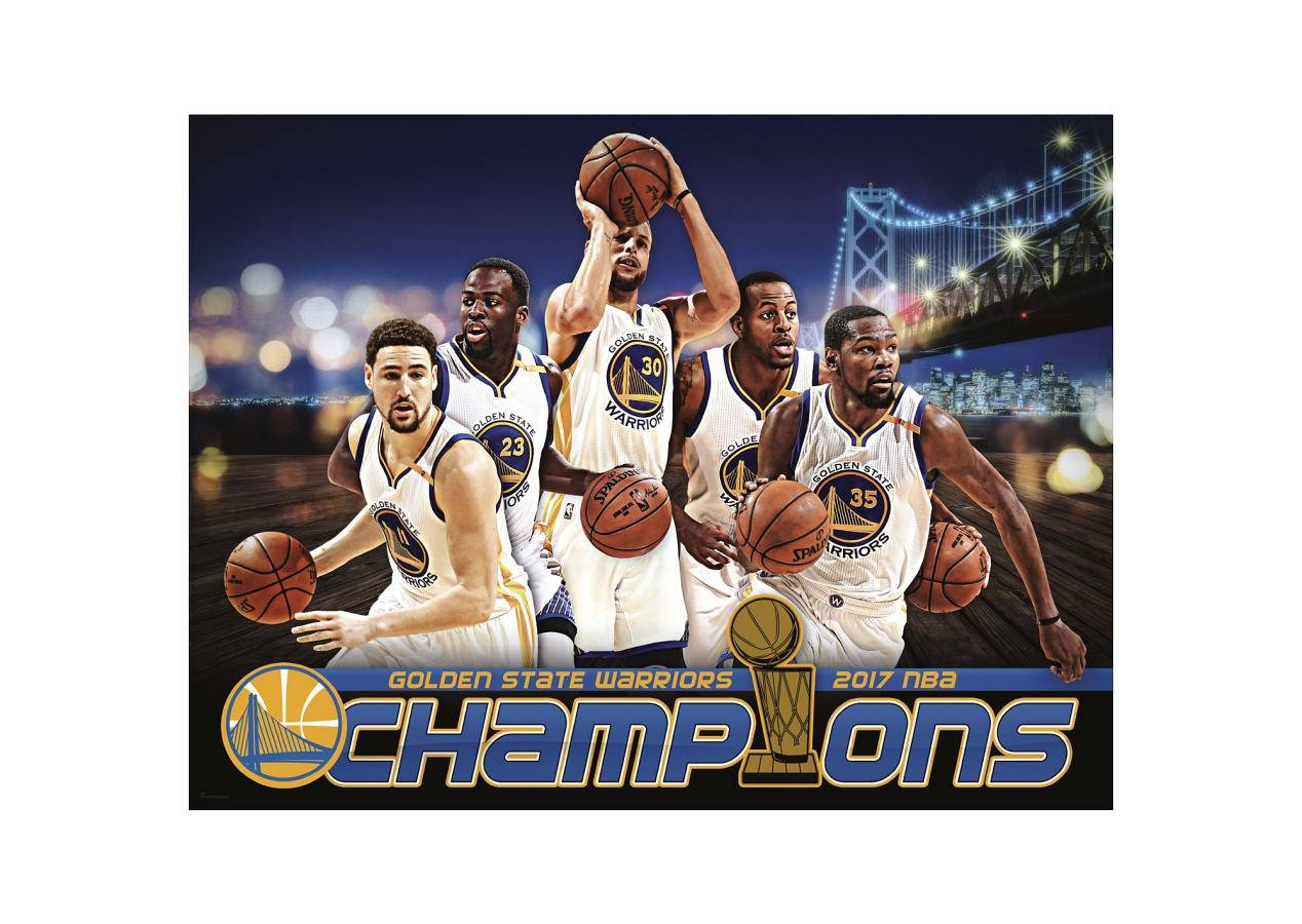Golden State Warriors 2017 Champions Montage Mural Wall Decal For Newest Nba Wall Murals (Gallery 10 of 25)