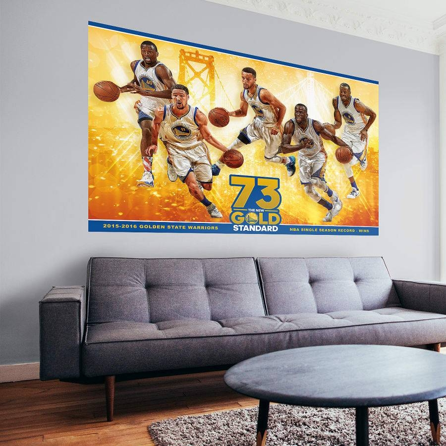 Golden State Warriors Nba Wins Record Mural Wall Decal | Shop In Most Recent Nba Wall Murals (View 3 of 25)