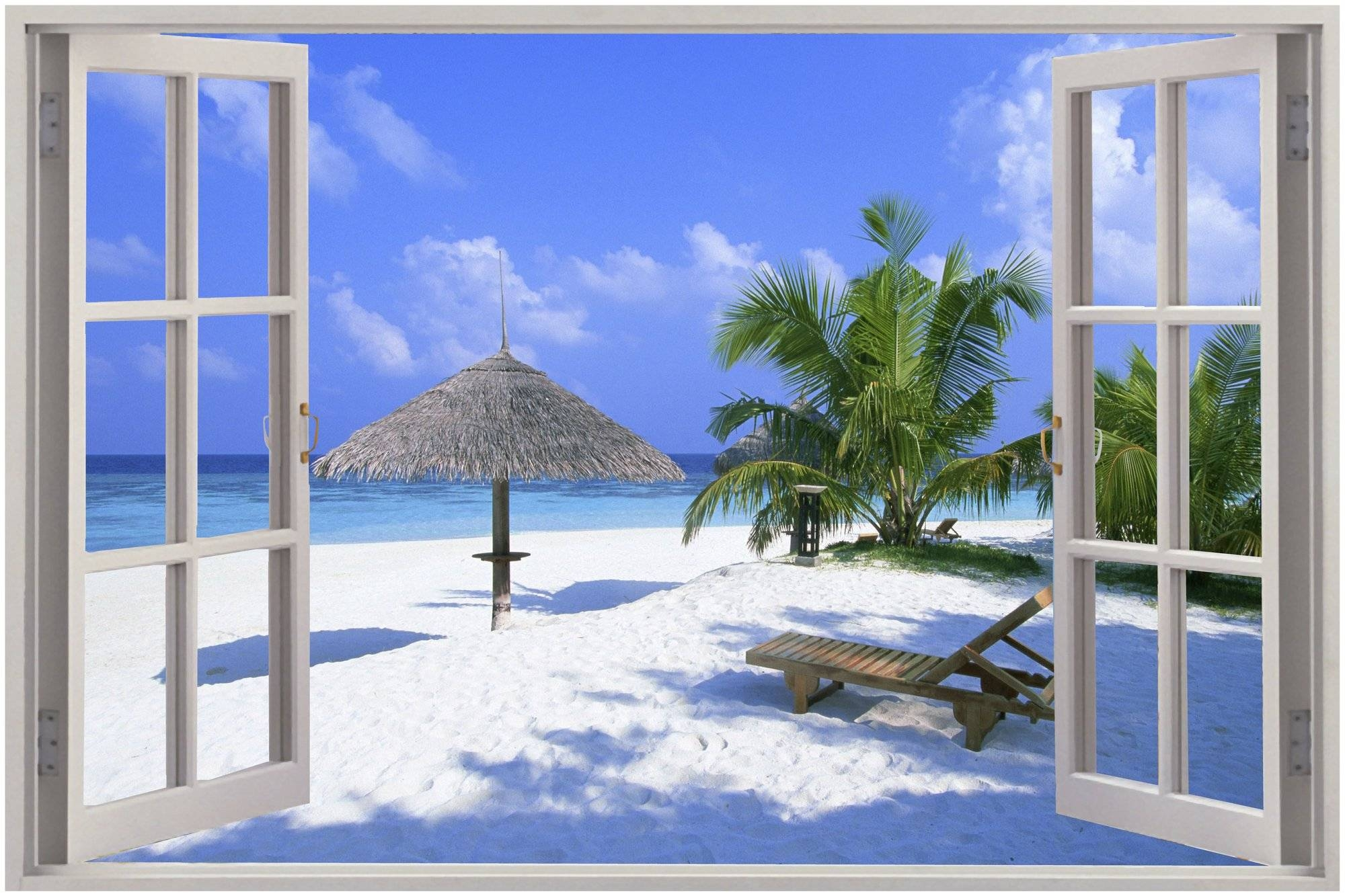 Gorgeous Old Window Frame Wall Art Home Decor D Landscape Window Within Most Up To Date Beach 3d Wall Art (View 17 of 20)