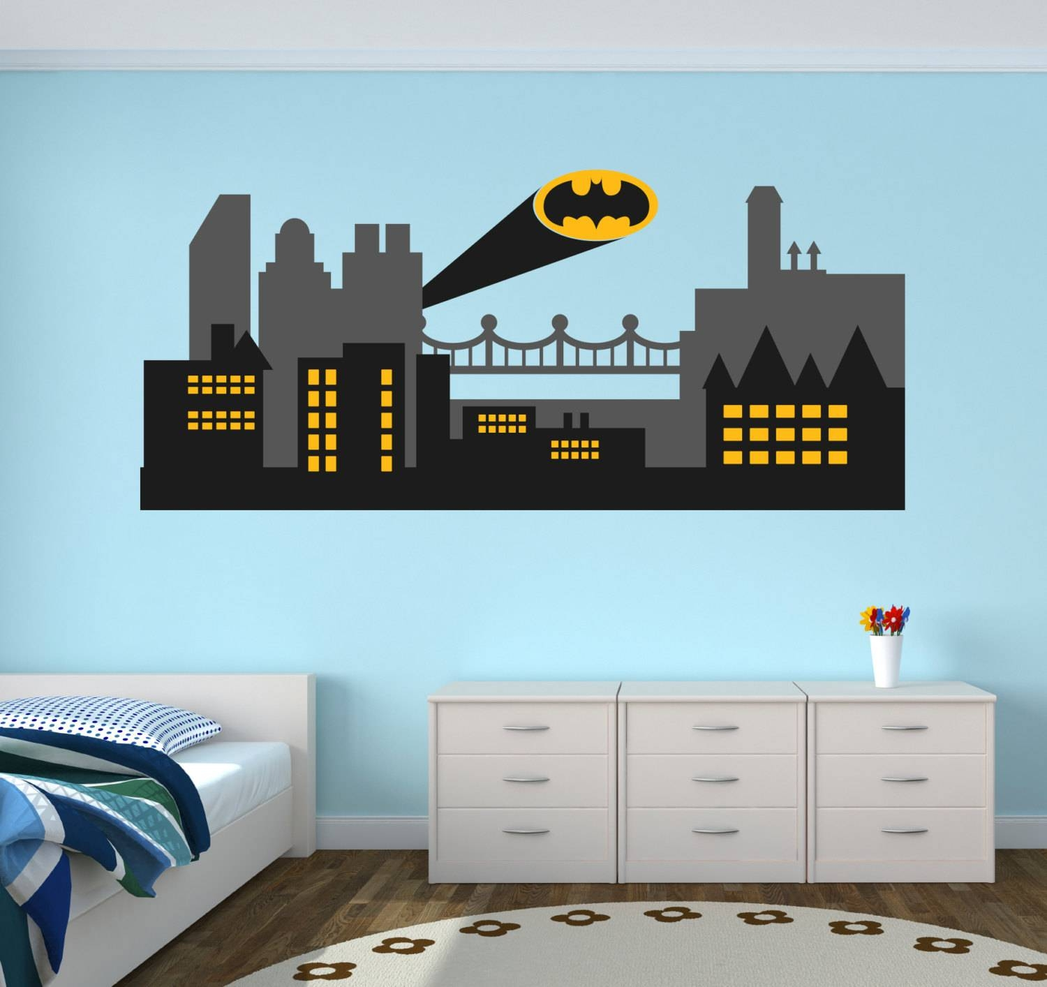 Gothic City Wall Decal Batman Gothic City Skyline Wall Art In Best And Newest Superhero Wall Art For Kids (View 6 of 25)