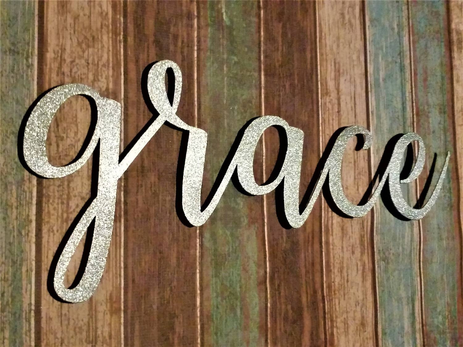 Grace Sign, Farmhouse Wall Decor, Grace Wall Art, Rustic Word Sign With Latest Grace Wall Art (View 18 of 25)