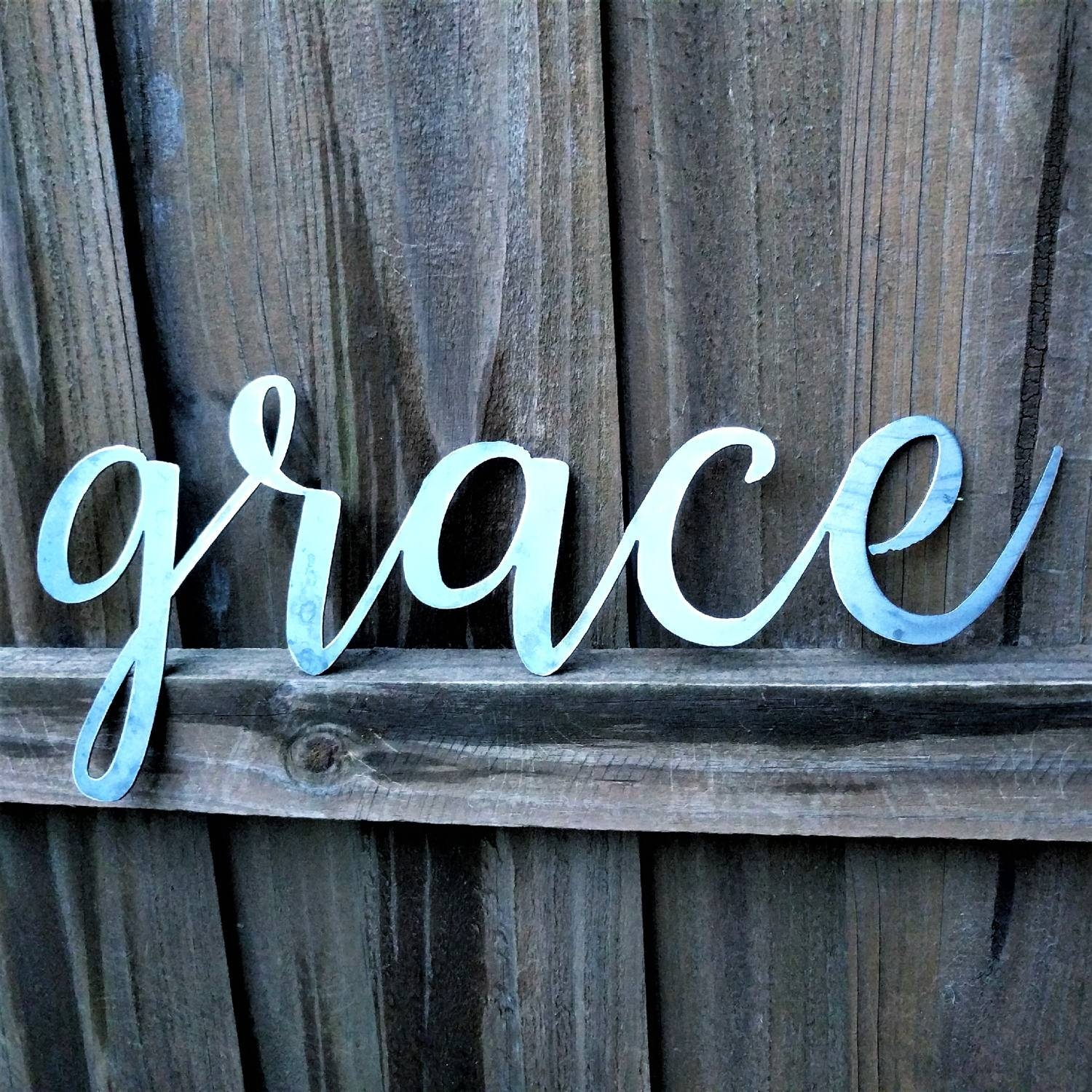Grace Sign, Metal Farmhouse Sign, Metal Letters, Metal Wall Art In Best And Newest Metal Word Wall Art (View 8 of 20)