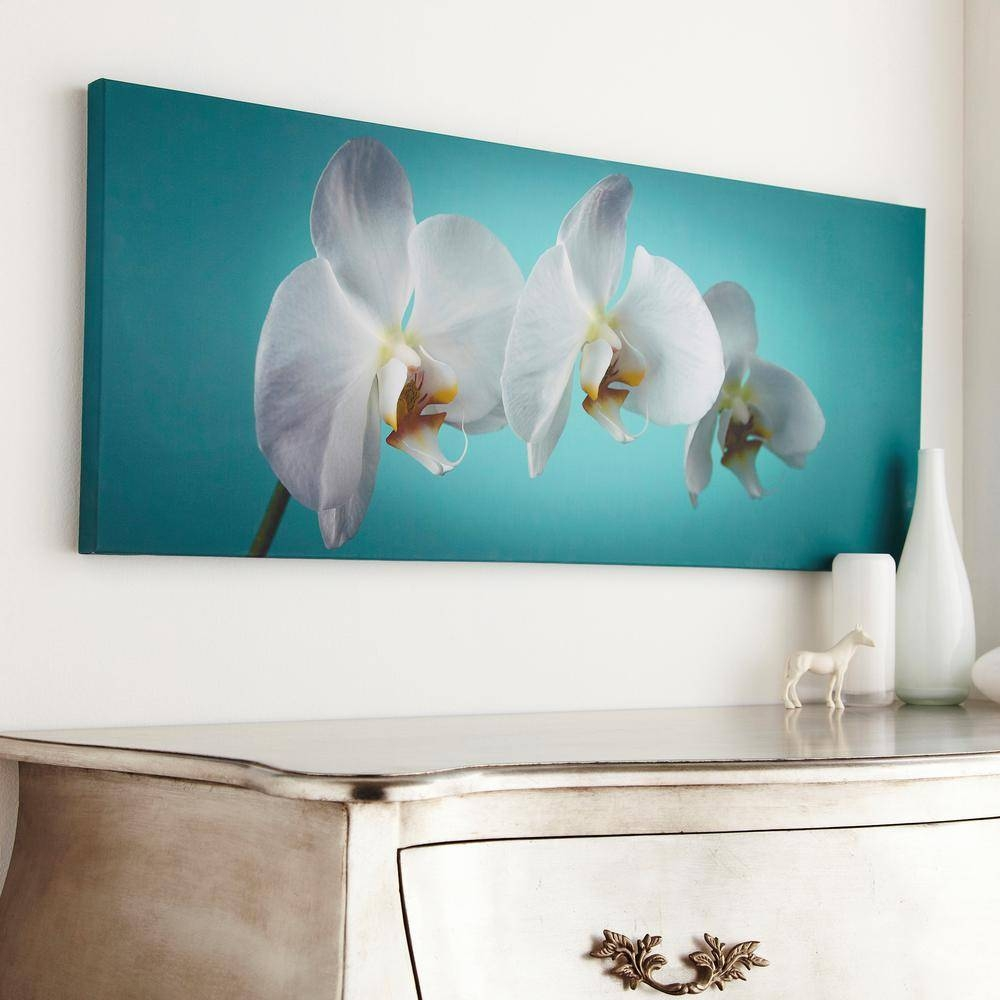 "Graham And Brown 39 In. X 16 In. ""teal Orchid""graham And Brown Throughout Best And Newest Turquoise And Brown Wall Art (Gallery 13 of 25)"