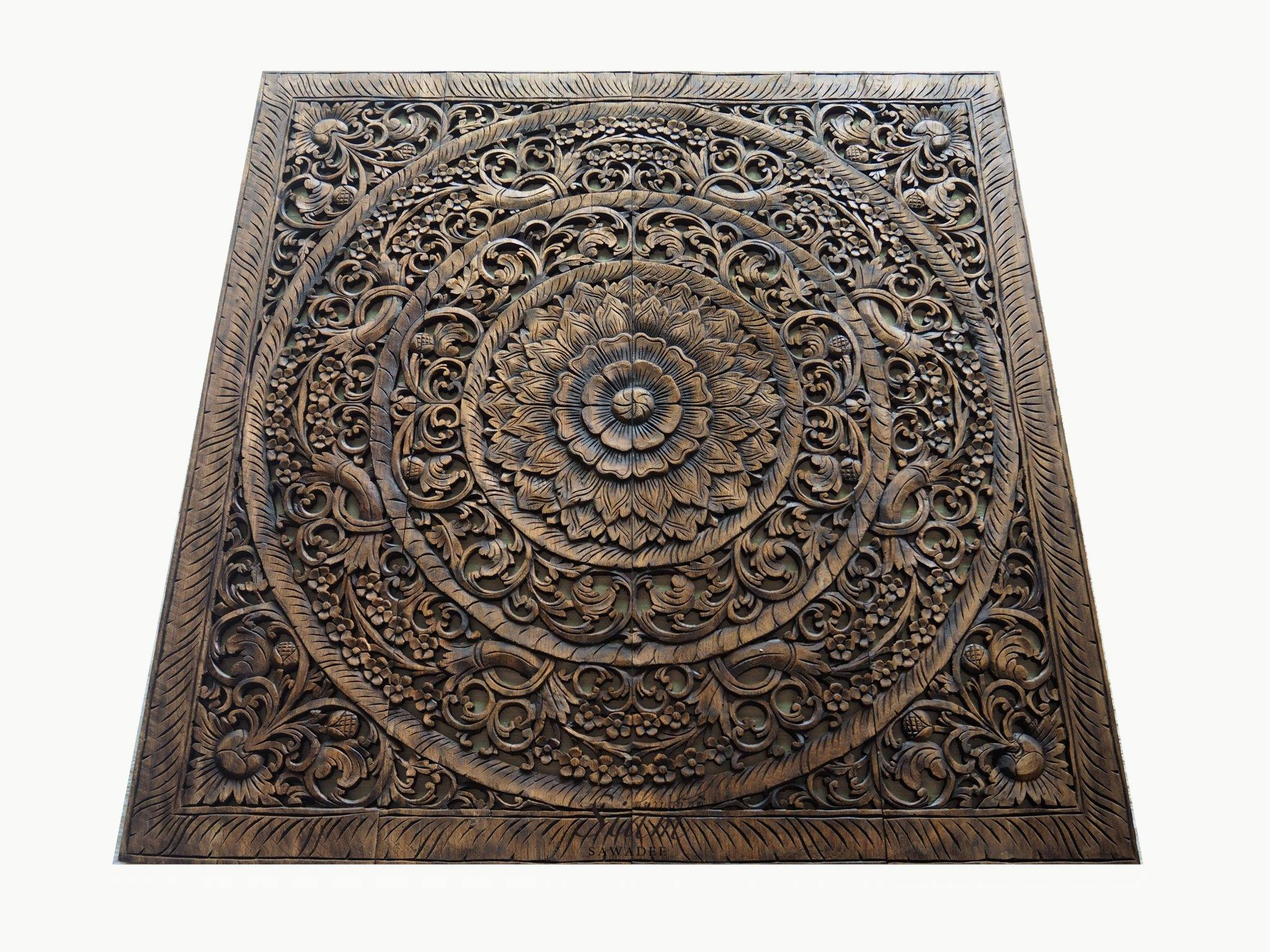 Grand Carved Teak Wood Wall Art Panel Plaque Decor – Siam Sawadee Pertaining To Current Wood Carved Wall Art Panels (View 11 of 25)
