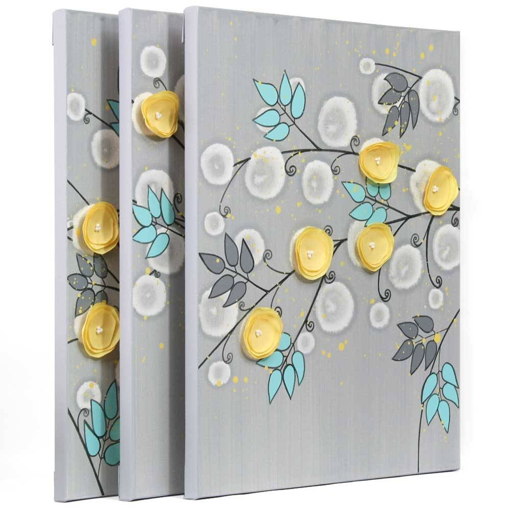 Gray And Yellow Wall Art Painting Of Flowers On Canvas – Large Intended For Most Current Large Yellow Wall Art (Gallery 13 of 20)