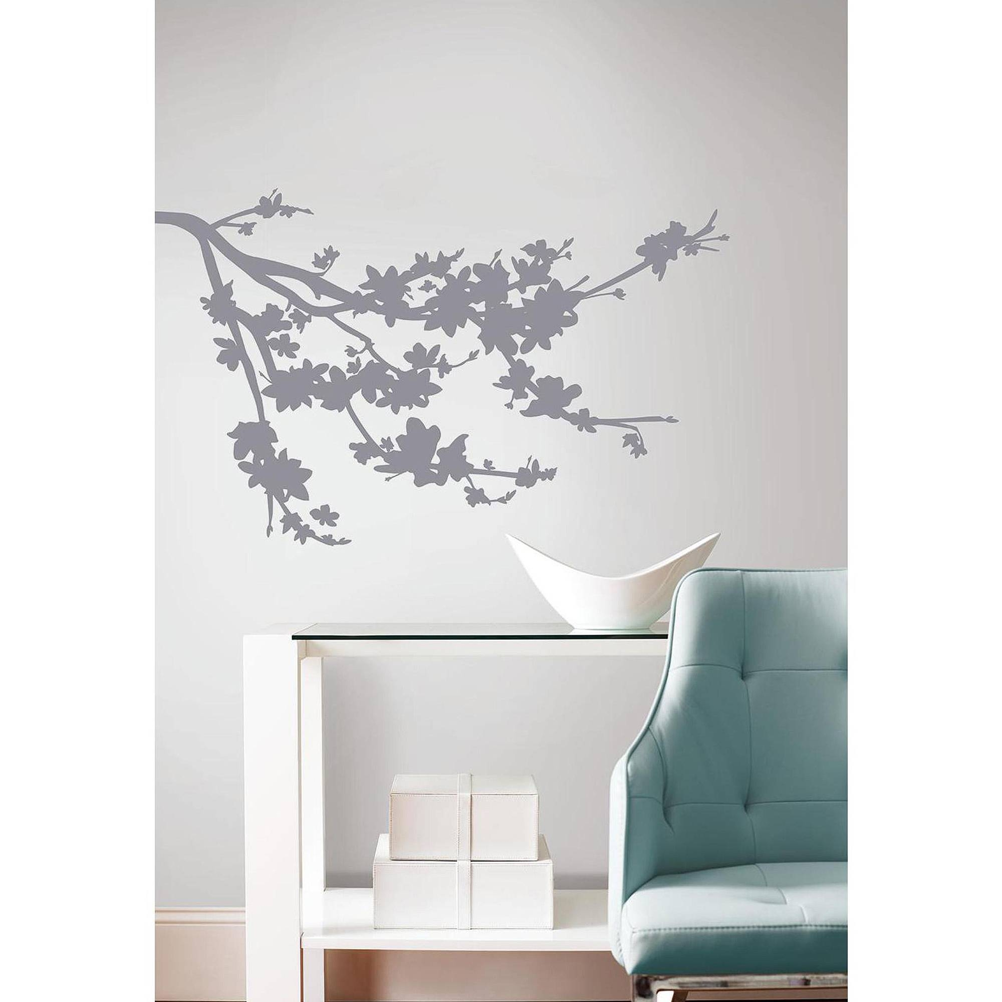 Gray Silhouette Blossom Branch Peel And Stick Wall Decals With Current Walmart Wall Stickers (View 9 of 25)