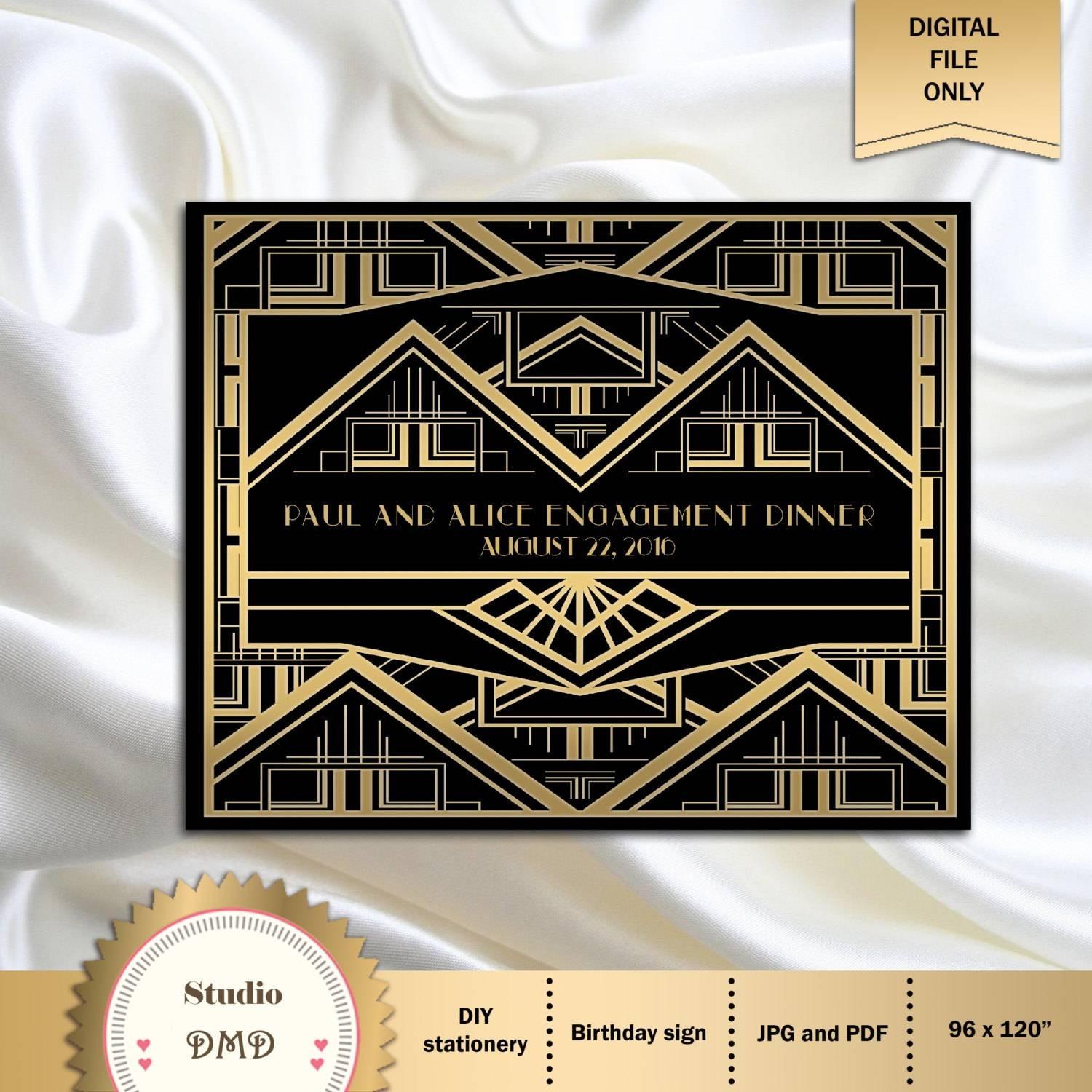 Great Gatsby Art Deco Backdrop For Photos Wall Decor Party For 2018 Great Gatsby Wall Art (Gallery 8 of 20)