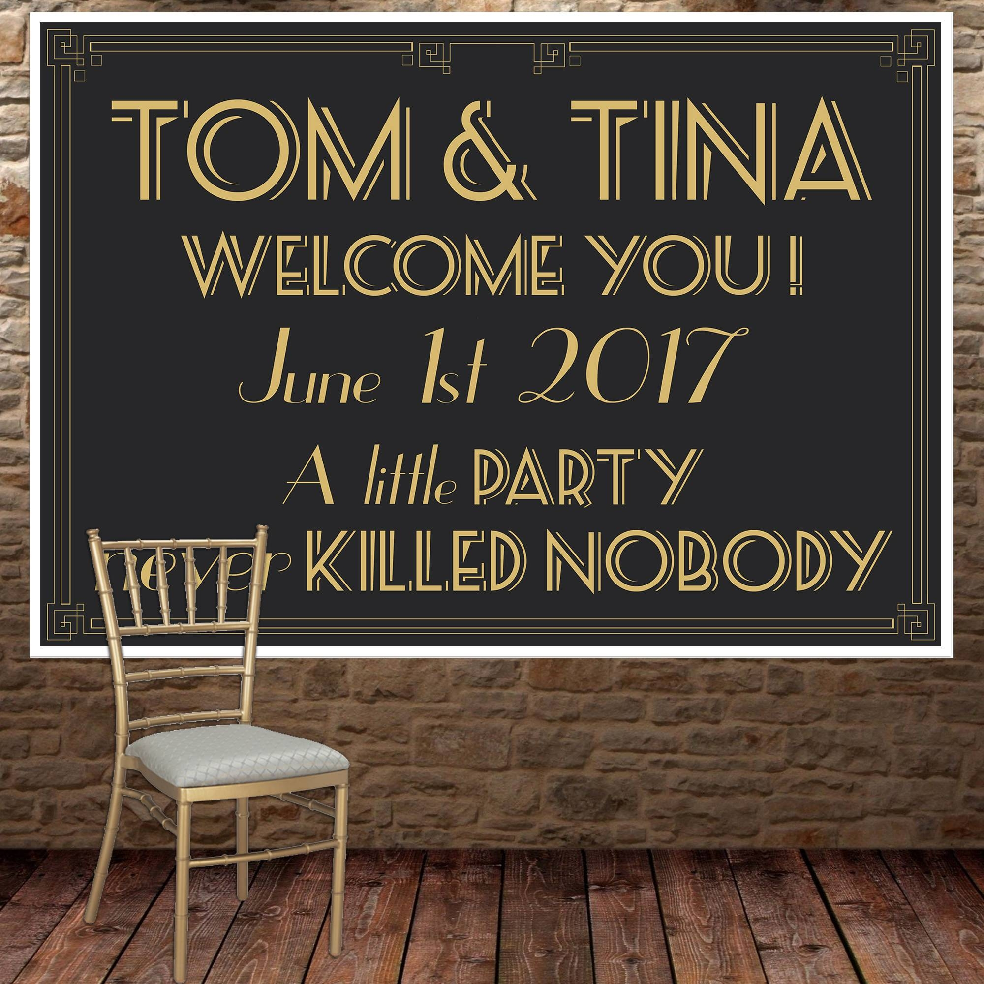 Great Gatsby Wedding Banner Personalized Party Backdrop – Paper Blast With Most Recent Great Gatsby Wall Art (Gallery 10 of 20)