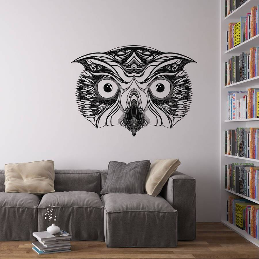 Great Horned Owl Vinyl Wall Art Stickervinyl Revolution Inside Most Up To Date Owl Wall Art Stickers (Gallery 3 of 15)