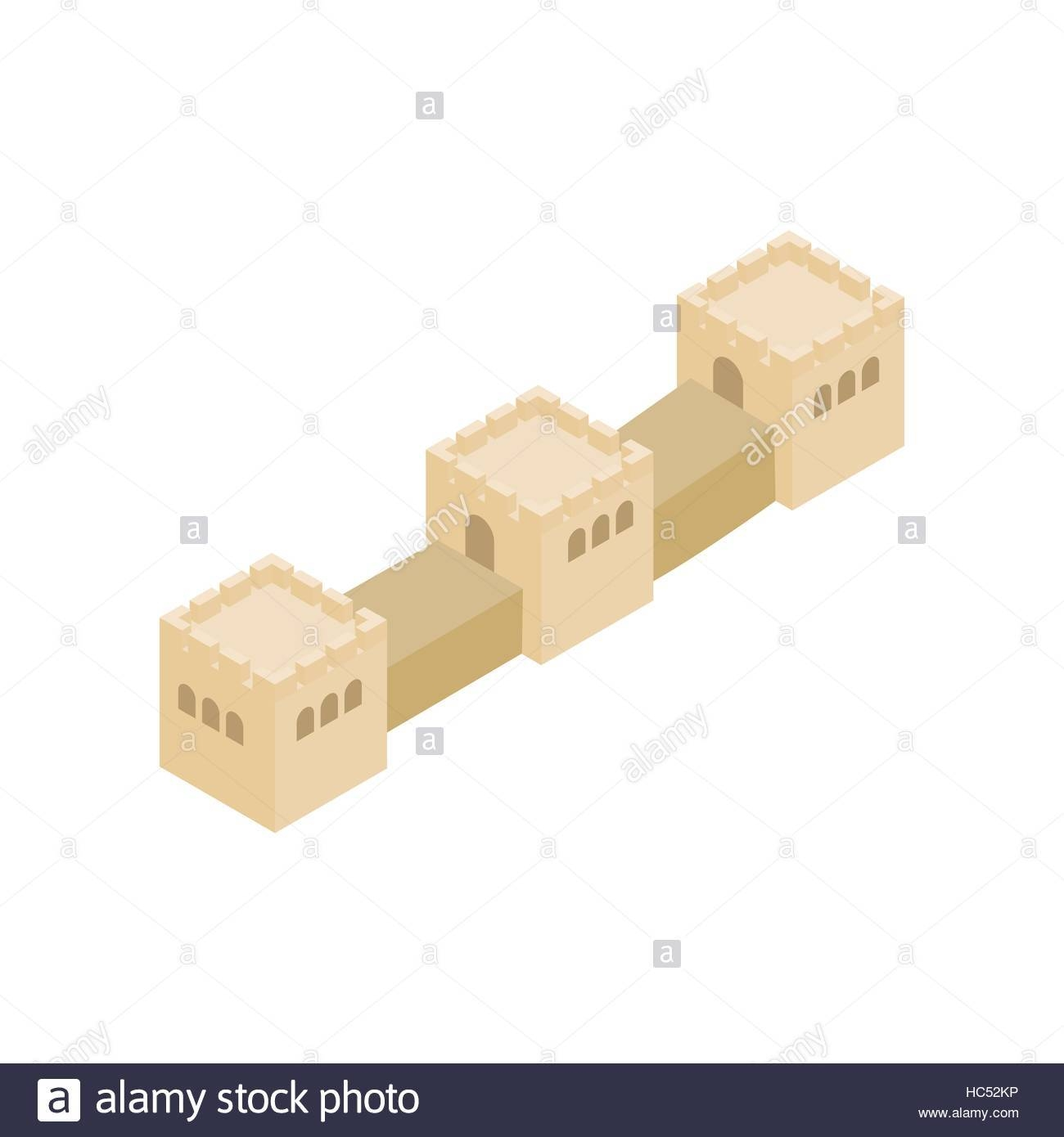 Great Wall Of China Icon, Isometric 3D Style Stock Vector Art With Regard To Recent Great Wall Of China 3D Wall Art (View 12 of 20)