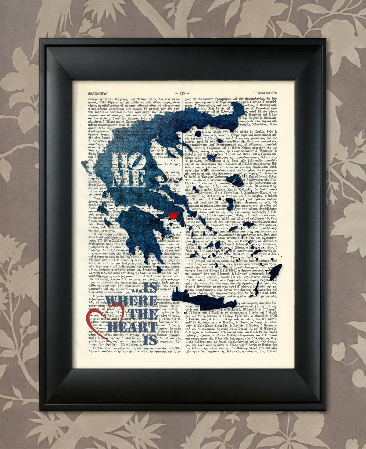 Greece Art Print Greece Print Greece Map Art Greece Wall With Regard To Most Popular Greek Wall Art (Gallery 18 of 20)