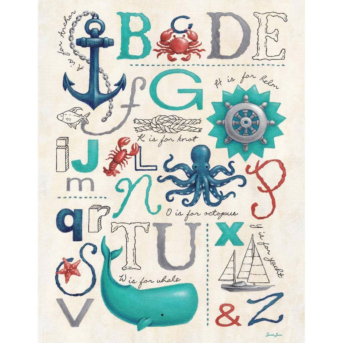 Greenbox Art 14 X 18 Nautical Abcs Canvas Wall Art | Wall Décor Within 2018 Nautical Canvas Wall Art (Gallery 4 of 20)