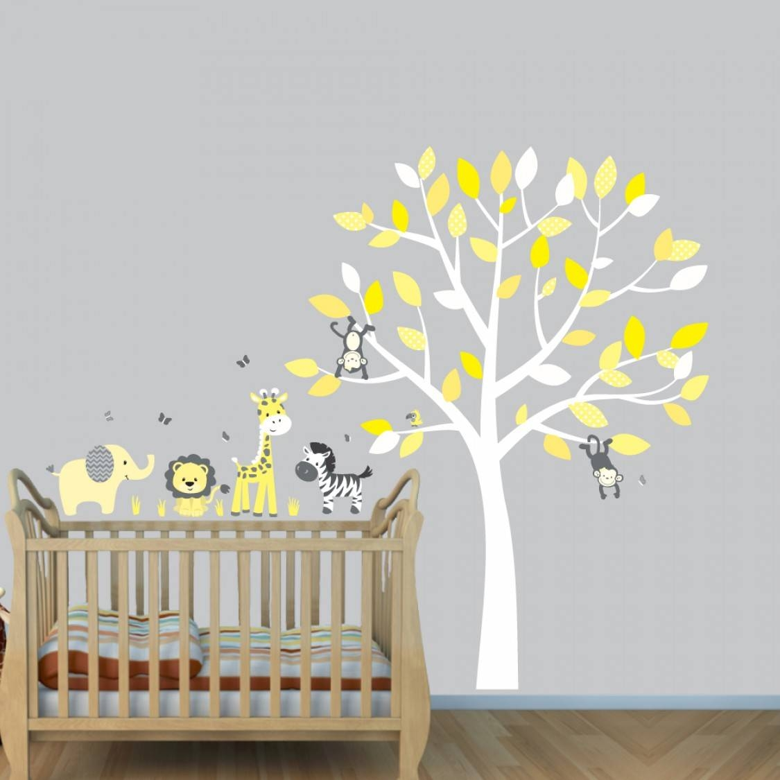 Grey Jungle Wall Stickers With Elephant Decals For Yellow Nursery With Regard To 2018 Yellow And Grey Wall Art (Gallery 22 of 25)