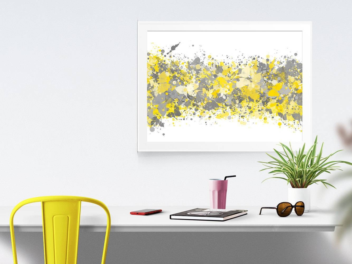 Grey Yellow Abstract Watercolor Print Office Decor Gray Grey Within Most Recently Released Yellow And Gray Wall Art (View 13 of 15)