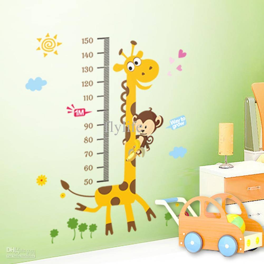 Growth Height Chart Stickers Children's Decorative Stickers For Regarding Most Recent Wall Art Stickers For Childrens Rooms (View 11 of 20)