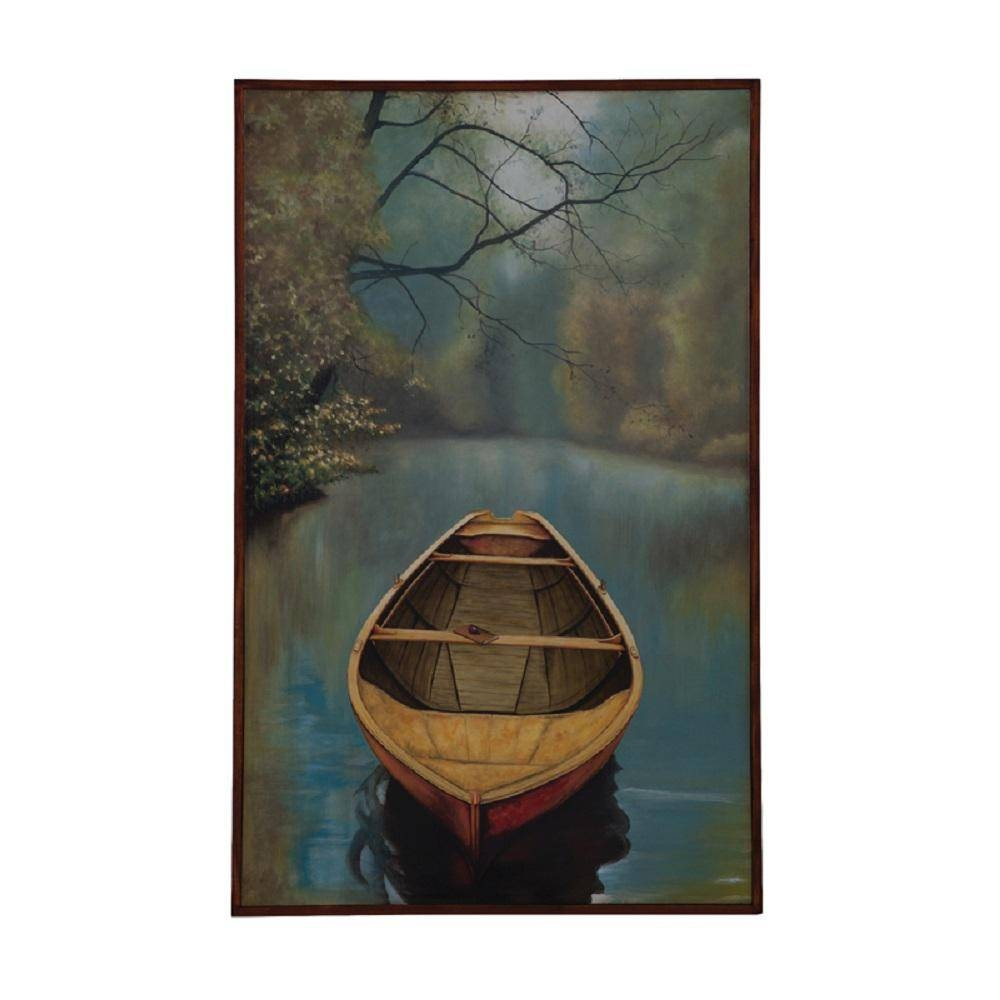 "Guildmaster 48 In. X 30 In. ""river Boat"" Framed Hand Painted In Most Current Boat Wall Art (Gallery 17 of 20)"