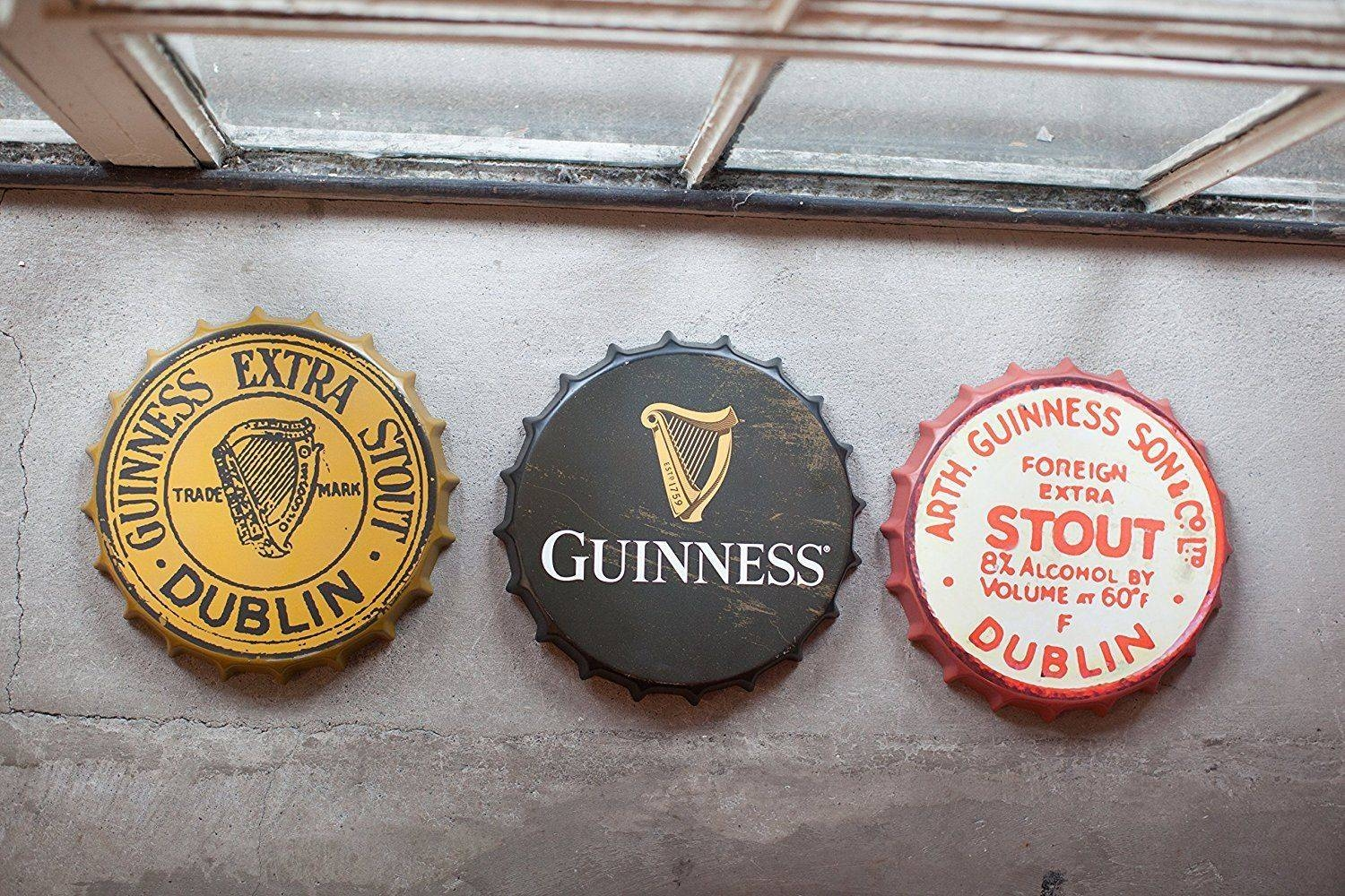 Guinness Gold Vintage Metal Bottle Cap Sign Dublin Ireland Irish With 2018 Ireland Metal Wall Art (View 11 of 20)