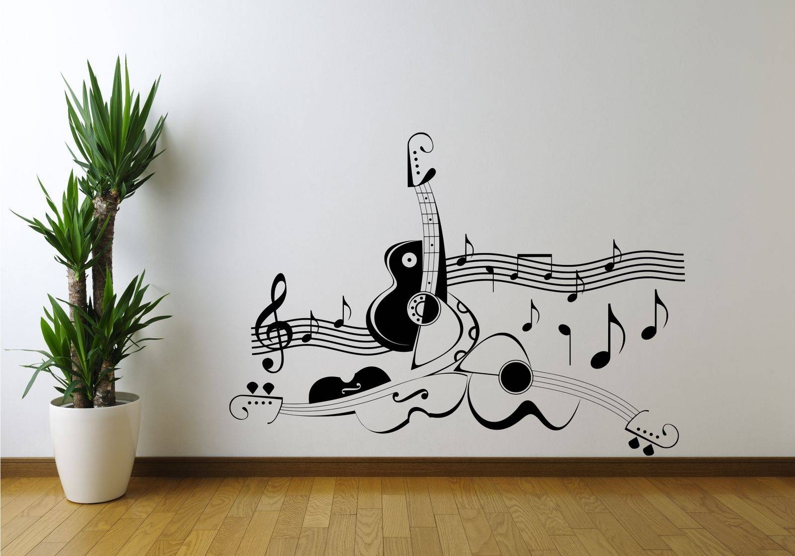 Guitar Music Note Symbol Violin Wall Art Sticker Decal Mural Vinyl Inside Newest Music Note Art For Walls (View 3 of 25)