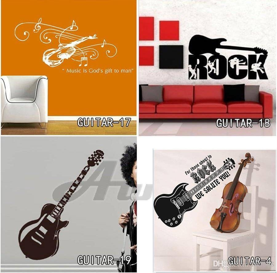 Guitar Wall Stickers Home Decor Diy Musical Instruments Wall Inside Most Current Musical Instrument Wall Art (Gallery 8 of 25)
