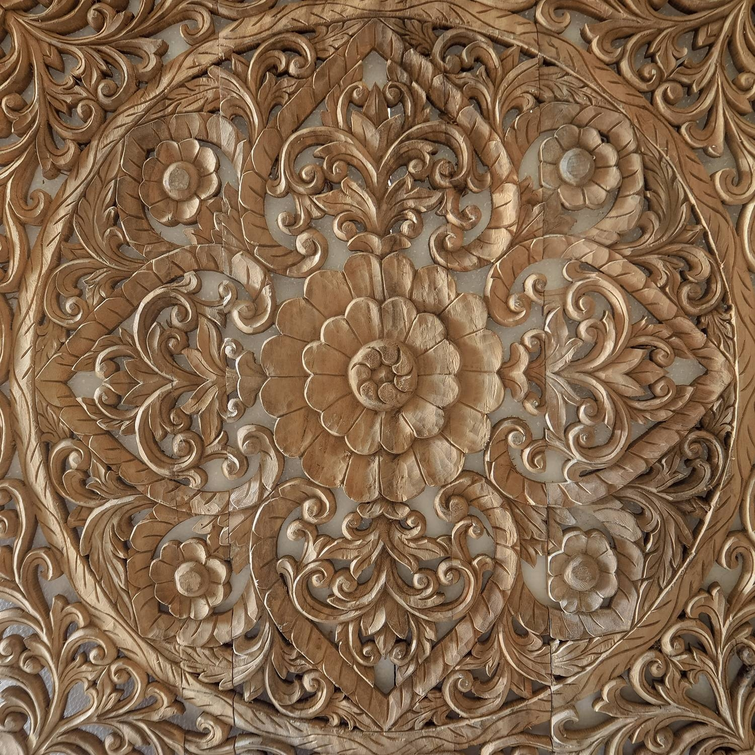 Hand Carved Wall Panel From Bali – Siam Sawadee Regarding Latest Wooden Wall Art Panels (View 7 of 20)