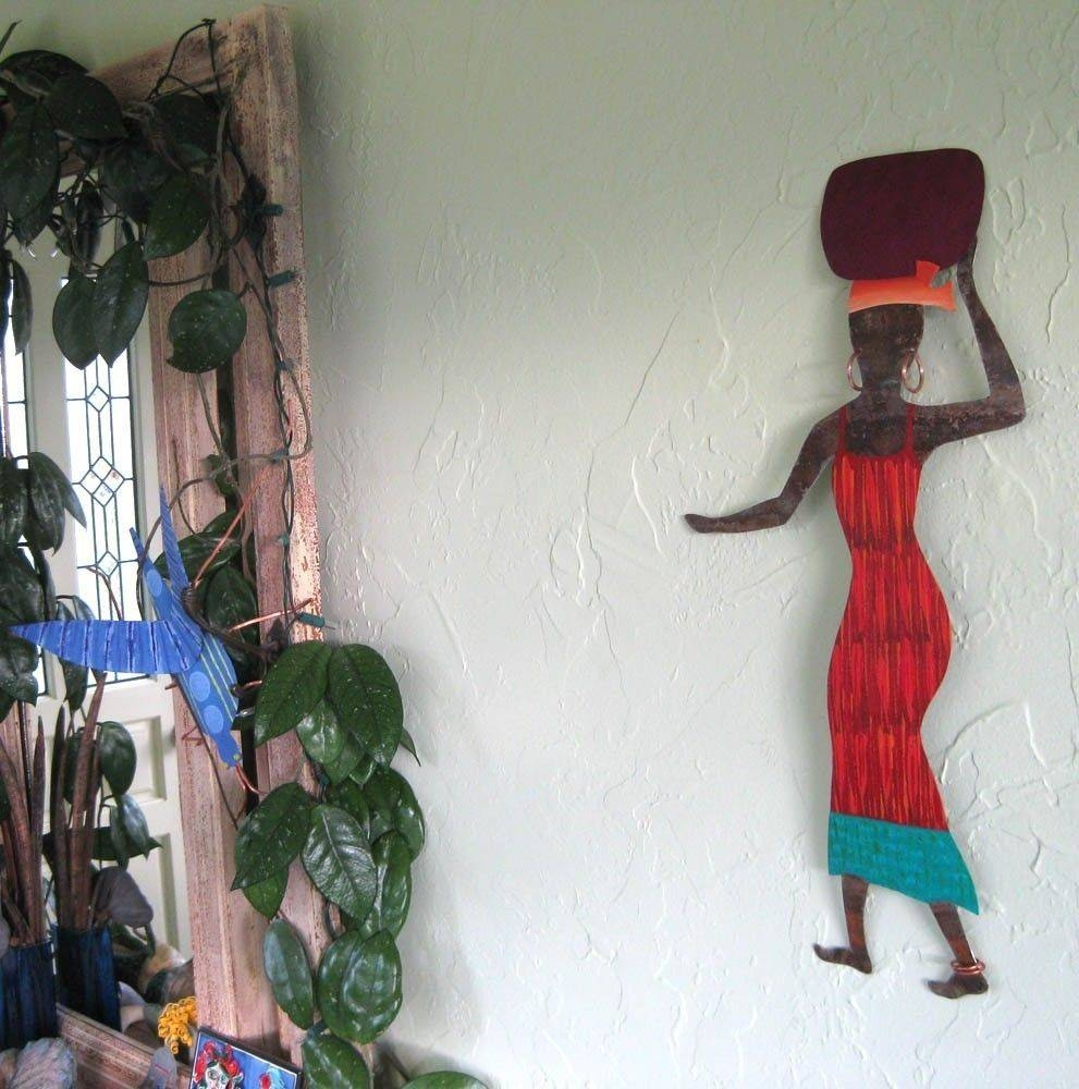 Hand Crafted Handmade Upcycled Metal African Lady In Red Wall Art Pertaining To Current African Metal Wall Art (View 30 of 30)