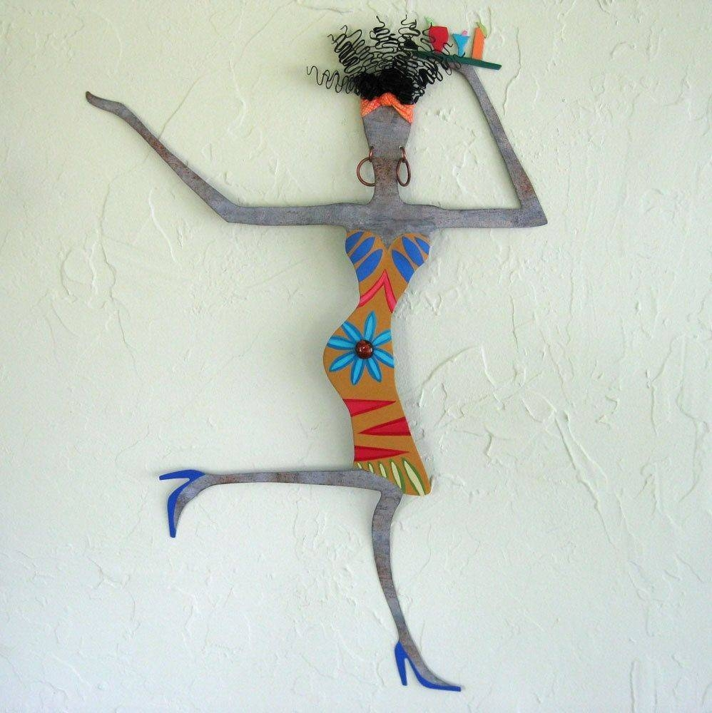Hand Crafted Handmade Upcycled Metal Exotic African Lady Wall Art Throughout Most Recent Exotic Wall Art (View 7 of 20)
