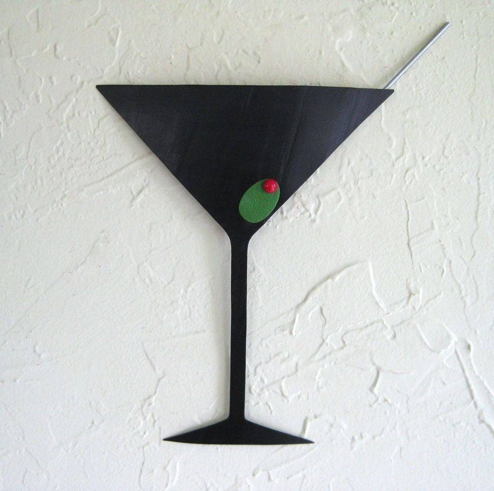 Hand Crafted Handmade Upcycled Metal Martini Wall Art Sculpture Pertaining To Most Popular Martini Glass Wall Art (View 2 of 30)