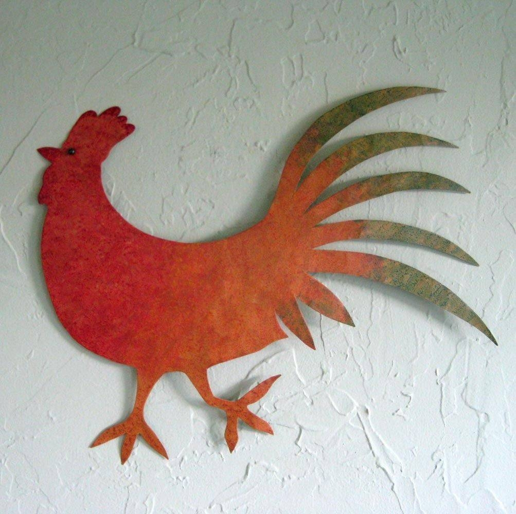 Hand Crafted Handmade Upcycled Metal Rooster Wall Art Sculpture In Latest Metal Rooster Wall Decor (View 4 of 25)