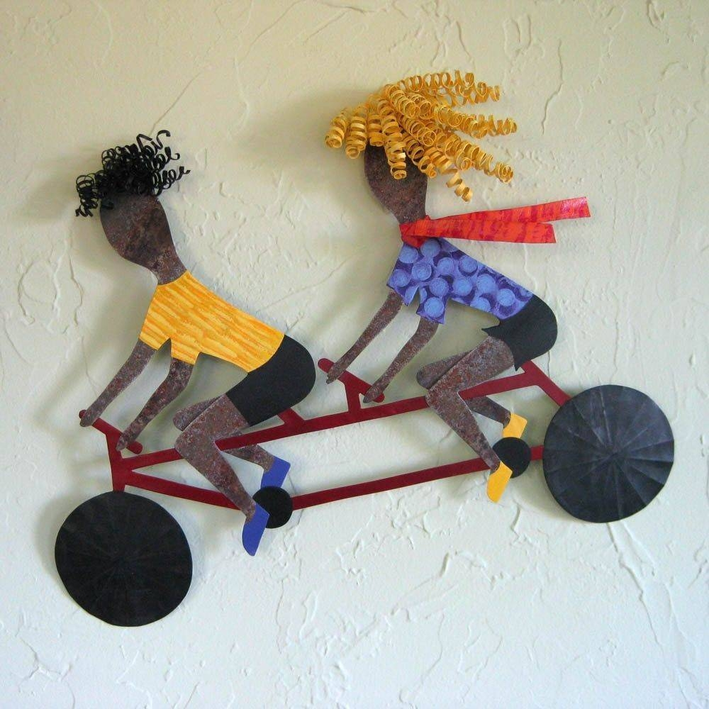 Hand Crafted Handmade Upcycled Metal Tandem Bicycle Wall Art Pertaining To 2018 Metal Bicycle Art (View 17 of 20)