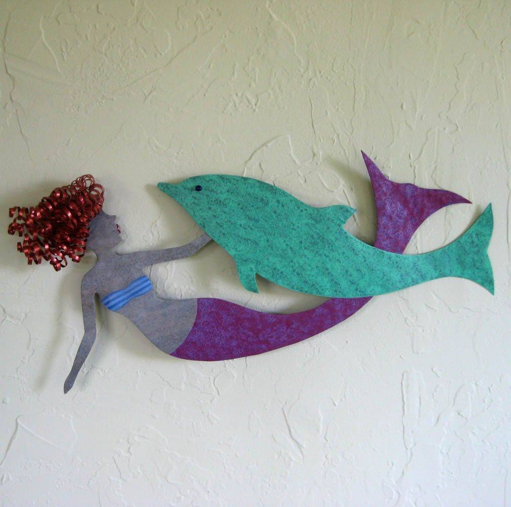 Hand Crafted Mermaid And Dolphin Wall Decor Sealife Art Recycled In Most Popular Dolphin Metal Wall Art (View 16 of 25)