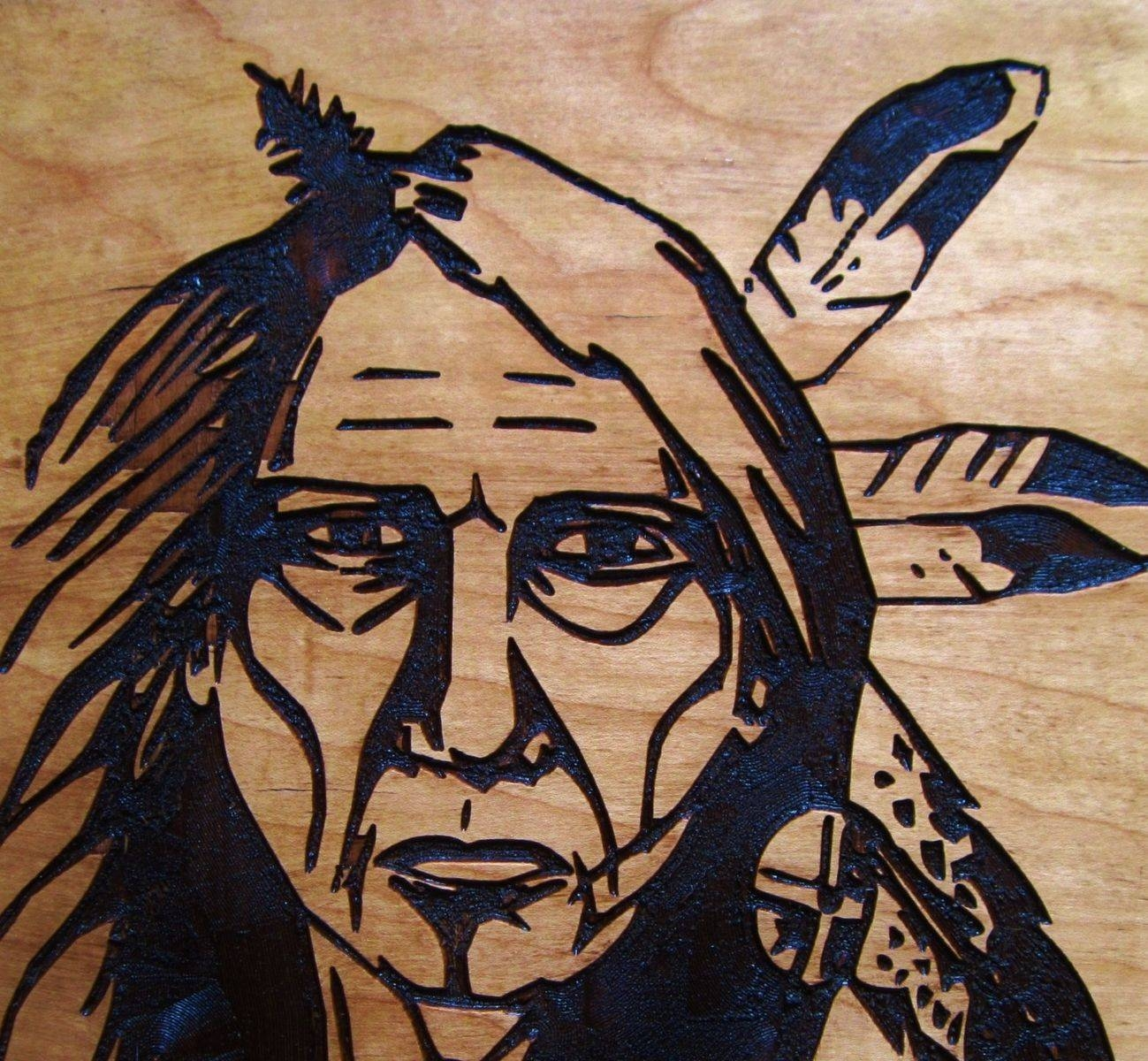 Hand Crafted Native American Indian Elder Woman Handmade Wood Pertaining To Most Recent Native American Wall Art (View 14 of 25)