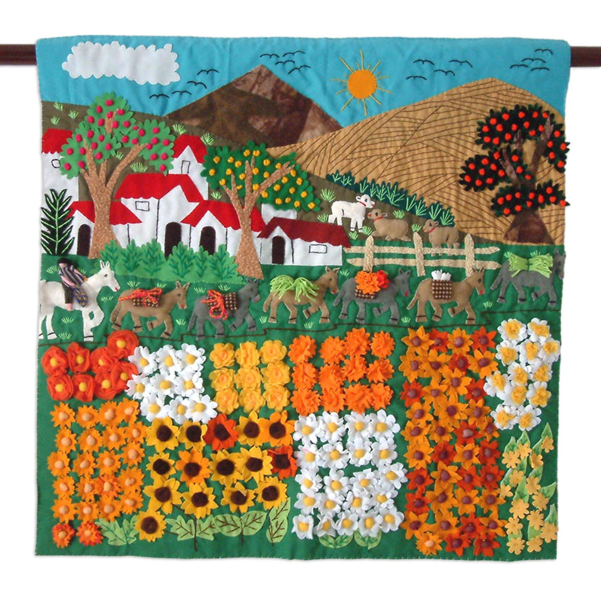 Hand Crafted Peruvian Folk Art Applique Wall Hanging – Sunflower For Best And Newest Peruvian Wall Art (View 2 of 30)