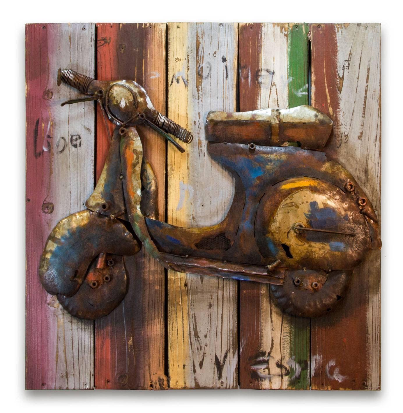Hand Crafted 'retro Vespa' Metal Wall Art Panel Intended For 2018 Vespa 3D Wall Art (Gallery 11 of 20)