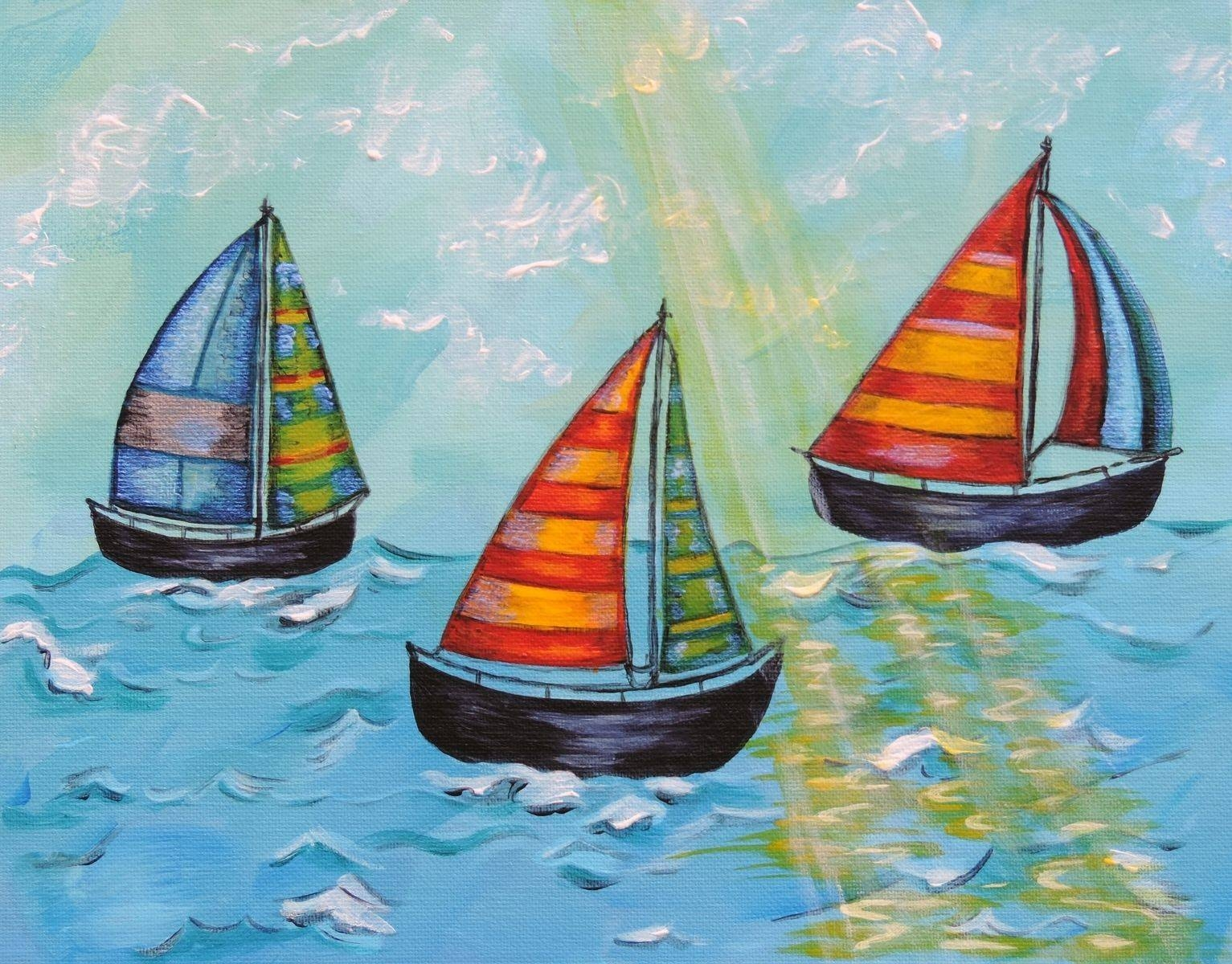 Hand Crafted Sail Boats, Child Or Nursery Art / Kids Wall Art In Most Up To Date Boat Wall Art (View 16 of 20)
